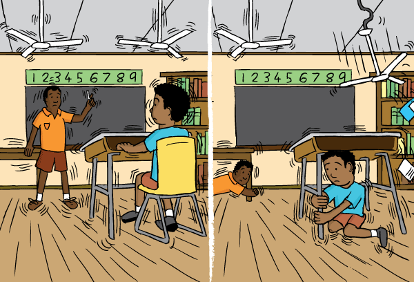 Cartoon classroom in earthquake. Student under desk drawing. Falling ceiling fans.