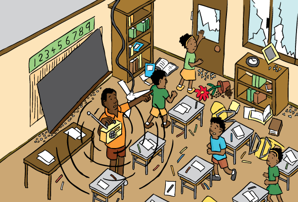 High angle cartoon school classroom earthquake. Drawing of teaching telling students to evacuate the classroom.