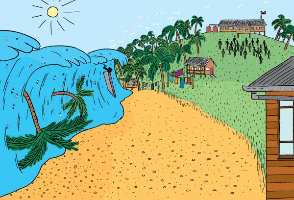 Cartoon tsunami coming towards tropical beach. Trees being carried in waves.