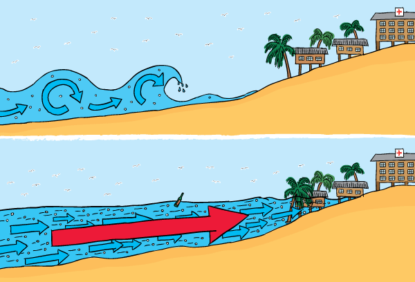 Cartoon cross-section of tsunami. Difference between tsunami and normal waves.