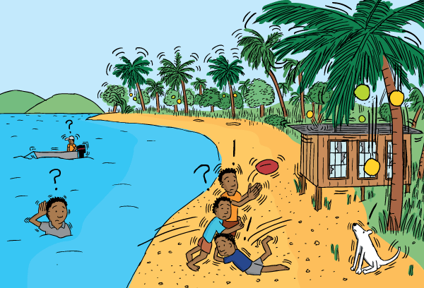 Cartoon kids playing footy on beach. Papua New Guinea drawing.