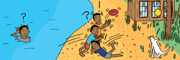 Cartoon drawing of kids playing rugby league footy on a beach.