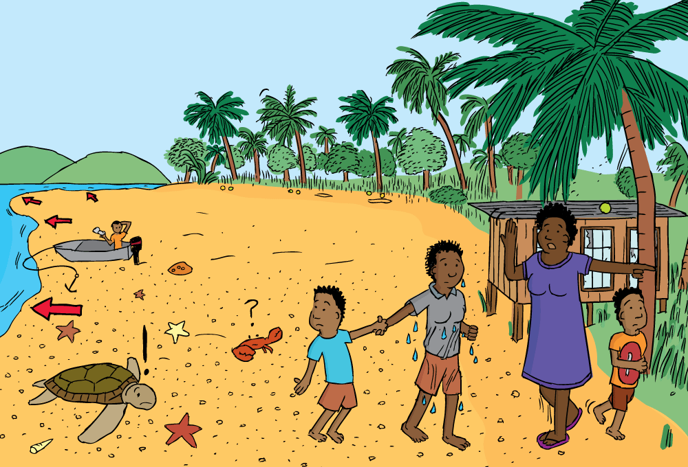 Cartoon People Evacuating Beach Drawing Of Drawback Before Tsunami Receded Water Reveals Sand