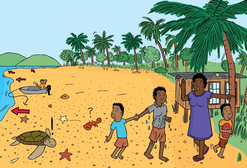 Cartoon People Evacuating Beach Drawing Of Drawback Before Tsunami Receded Water Reveals Sand