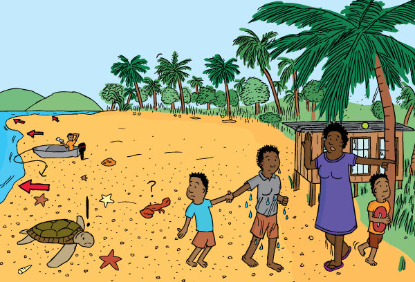 Cartoon people evacuating beach. Drawing of beach drawback before tsunami. Receded water reveals sand.
