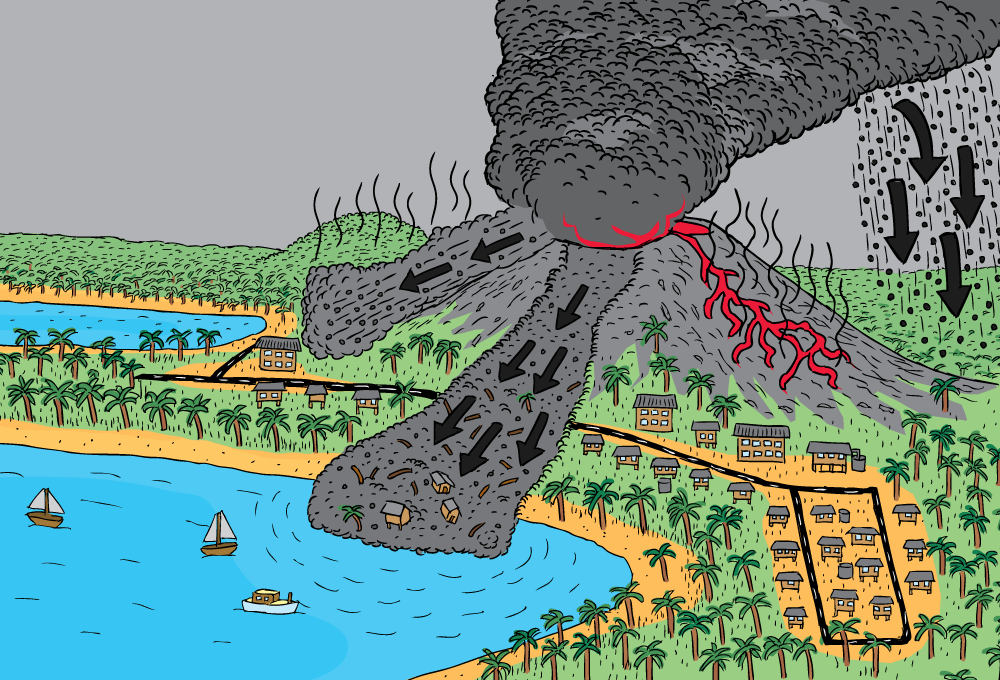 Geoscience australia booklets stuart mcmillen cartoon commissions cartoon high angle volcano lava flow mud slide pyroclastic flow ash ccuart Image collections