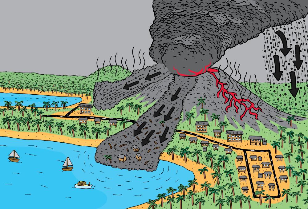 Geoscience australia booklets stuart mcmillen cartoon commissions cartoon high angle volcano lava flow mud slide pyroclastic flow ash ccuart Gallery