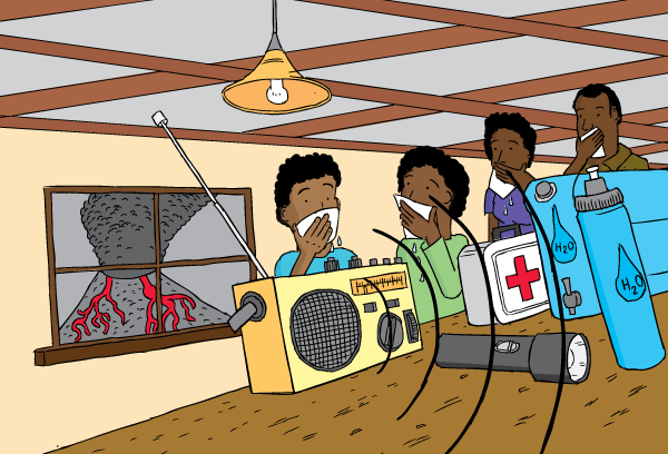 Low angle family listening to radio during volcano. Covering mouths with moist rags.