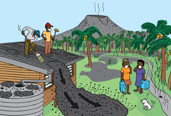 Cartoon cleaning up after volcano. Drawing of people sweeping ash from house roof after volcano. Tropical island illustration.
