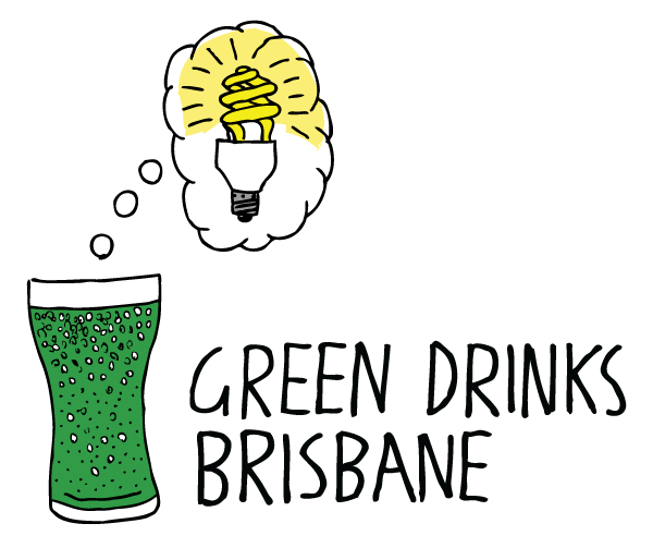 Green Drinks Brisbane logo. Cartoon green beer with light bulb drawing.