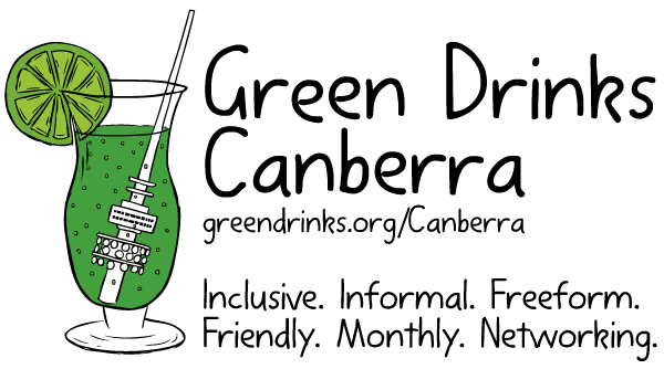 Green Drinks Canberra logo. Cartoon green cocktail drawing.