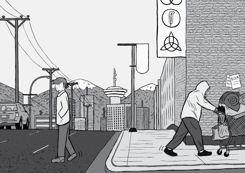 Black and white cartoon of Vancouver skyline. Cartoon man crossing the road, drawing of homeless man pushing shopping cart. Mountains and Harbour Centre in the background.