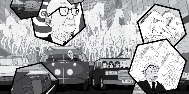 Buckminster Fuller cartoon inside hexagon panels. Stuck in traffic illustration, with horses floating in air above Dymaxion Car.