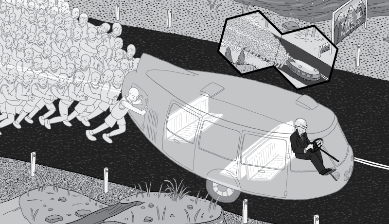 Cartoon Dymaxion Car cross section. Transparent Dymaxion vehicle with cartoon Buckminster Fuller sitting inside.