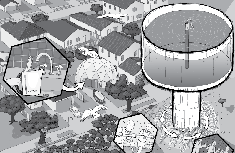 High angle view of water tower on hilltop. Cross-section showing water inside water tower.