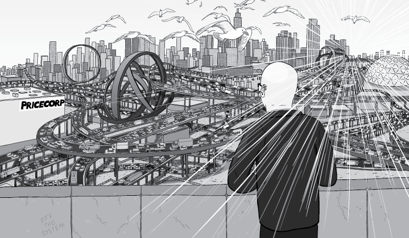Buckminster Fuller looking out over cartoon city, featuring network of freeways. Exaggerated cluttered freeway flyovers knotted, with loop-the-loops.