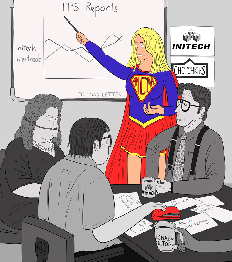 Cartoon cosplay Supergirl giving a presentation at a flip chart in an office meeting. Other people dressed as Office Space film characters: Bill Lumbergh, Milton Waddams, Nina.