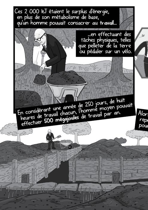 Ces 2 000 kJ étaient le surplus d'énergie, en plus de son métabolisme de base, qu'un homme pouvait consacrer au travail en effectuant des tâches physiques, telles que pelleter de la terre ou pédaler sur un vélo. En considérant une année de 250 jours, de huit heures de travail chacun, l'homme moyen pouvait effectuer 500 mégajoules de travail par an.