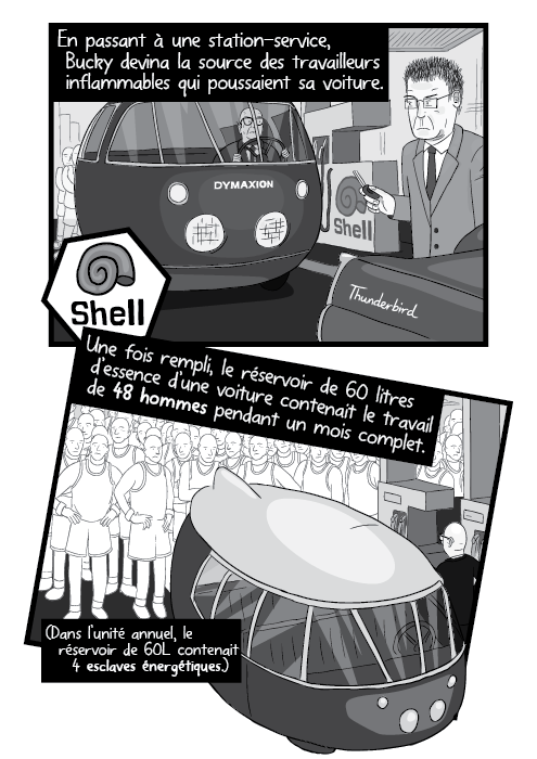 En passant à une station-service, Bucky devina la source des travailleurs inflammables qui poussaient sa voiture. Une fois rempli, le réservoir de 60 litres d'essence d'une voiture contenait le travail de 48 hommes pendant un mois complet.