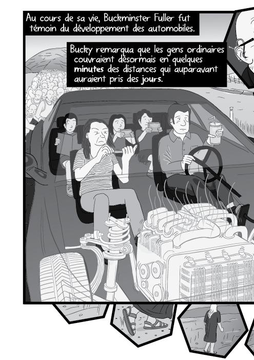 Au cours de sa vie, Buckminster Fuller fut témoin du développement des automobiles. Bucky remarqua que les gens ordinaires couvraient désormais en quelques minutes des distances qui auparavant auraient pris des jours.