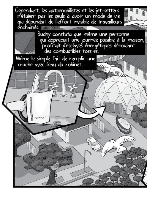 Cependant, les automobilistes et les jet-setters n'étaient pas les seuls à avoir un mode de vie qui dépendait de l'effort invisible de travailleurs enchaînés. Bucky constata que même une personne qui appréciait une journée paisible à la maison, profitait d'esclaves énergétiques découlant des combustibles fossiles. Même le simple fait de remplir une cruche avec l'eau du robinet...