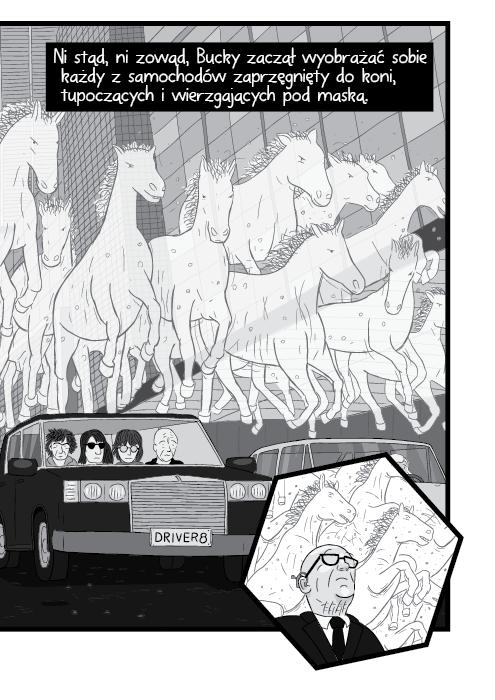 Ni stąd, ni zowąd, Bucky zaczął wyobrażać sobie każdy z samochodów zaprzęgnięty do koni, tupoczących i wierzgających pod maską.