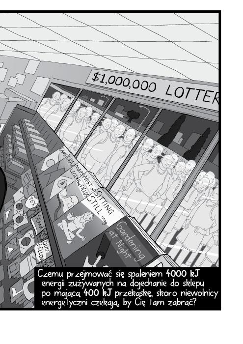 Czemu przejmować się spaleniem 4000 kJ energii zużywanych na dojechanie do sklepu po mającą 400 kJ przekąskę, skoro niewolnicy energetyczni czekają, by Cię tam zabrać?