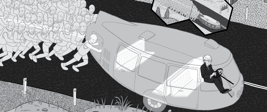 Cross section of transparent car, being pushed along the road by energy slave workers.