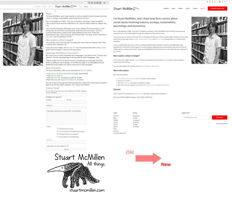 stuartmcmillen.com website redesign: About Stuart comparison (most recent versus new)