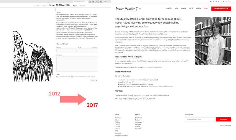 stuartmcmillen.com website redesign: About Stuart comparison (original version versus new)