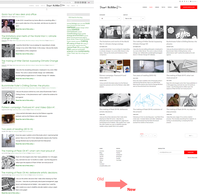 stuartmcmillen.com website redesign: blog archive comparison