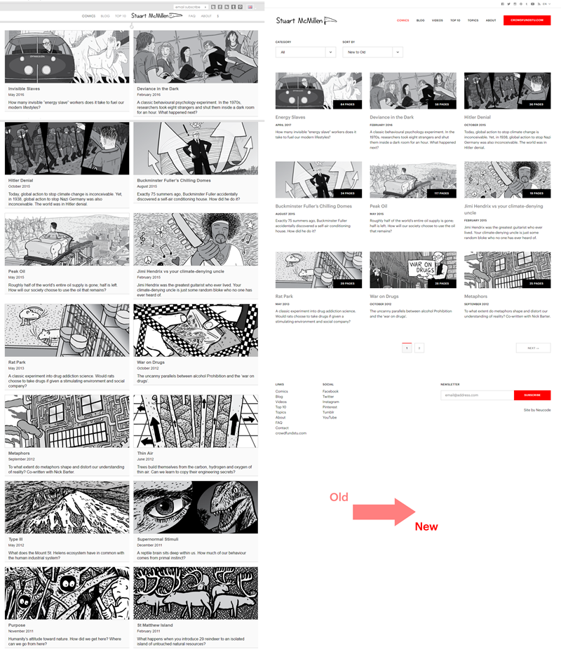 stuartmcmillen.com website redesign: comics archive comparison