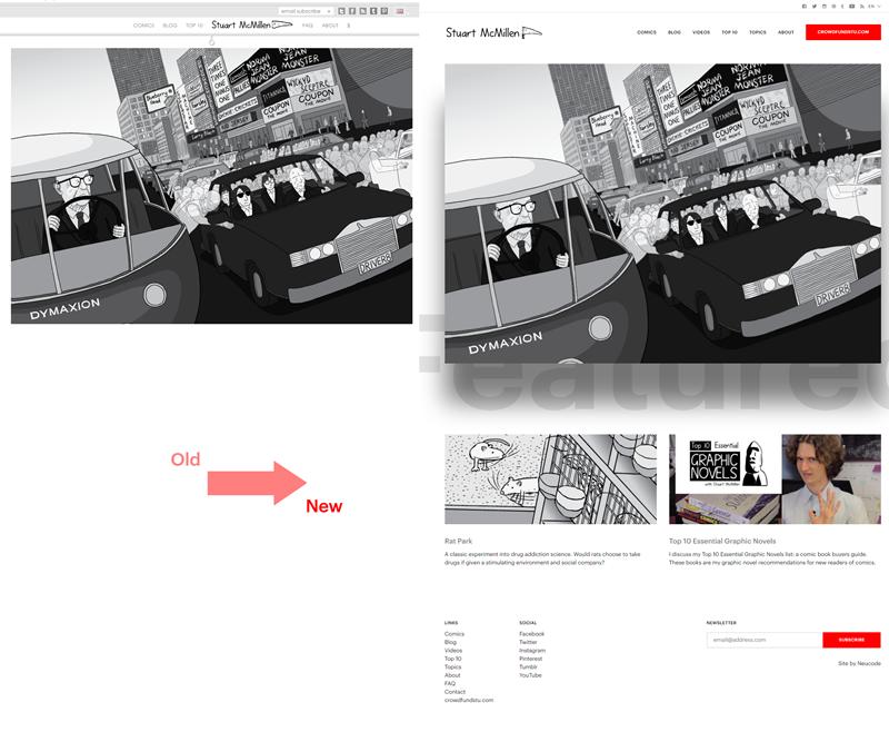 stuartmcmillen.com website redesign: home page comparison
