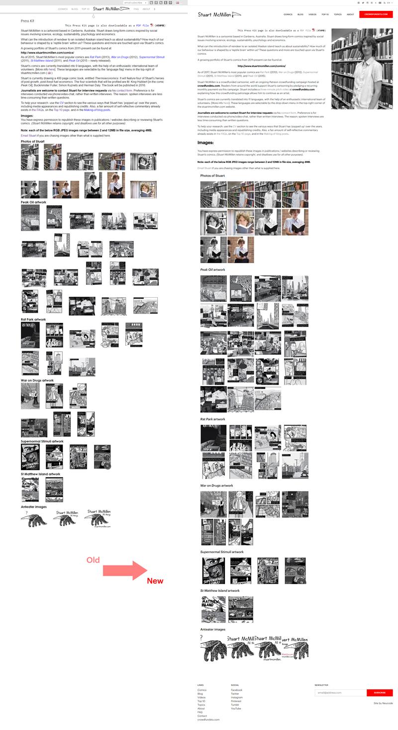 stuartmcmillen.com website redesign: Press Kit comparison
