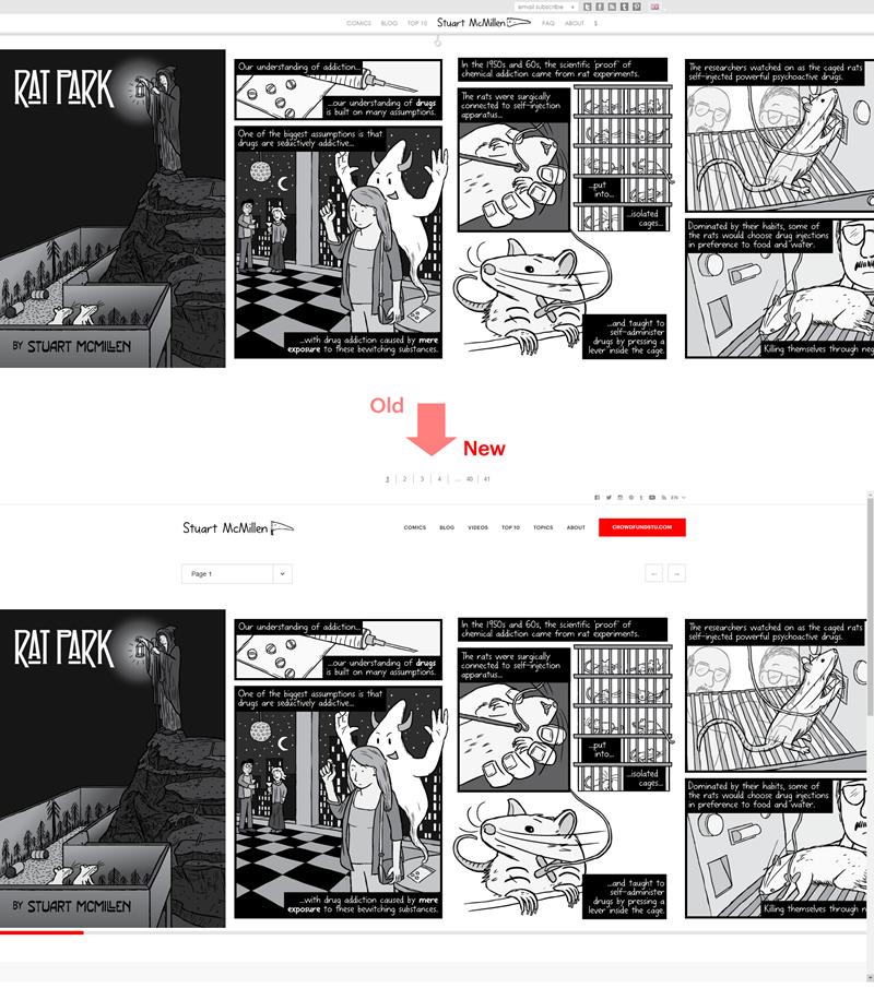 stuartmcmillen.com website redesign: Comic page 1 comparison