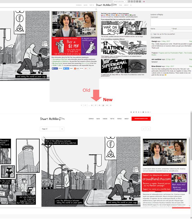stuartmcmillen.com website redesign: Comic final page comparison