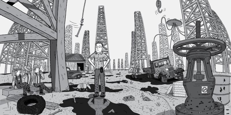 Cartoon man standing in oil fields with hands on hips. View between oil derricks in desert oil fields, between pumpjacks cartoon.