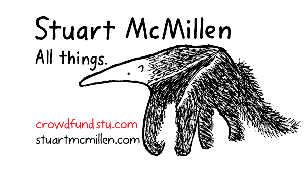 Stuart McMillen anteater logo with crowdfundstu.com and stuartmcmillen.com URLs. All things.