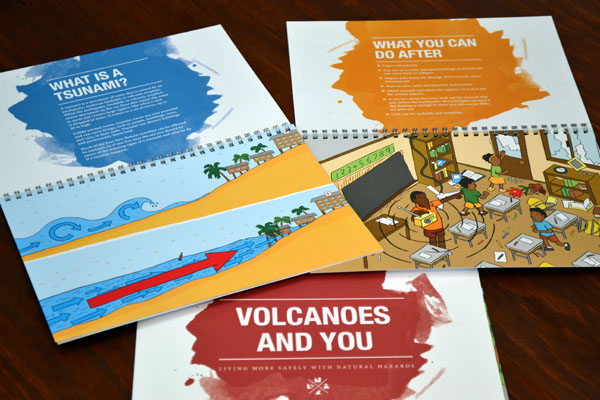Natural Hazards by Geoscience Australia booklets featuring cartoons by Stuart McMillen.