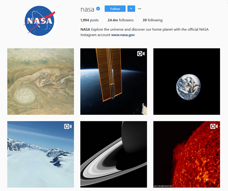NASA Instagram grid 3 column wide