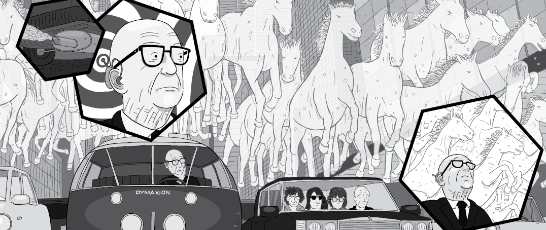 Buckminster Fuller looking at 'horsepower' horses cartoon
