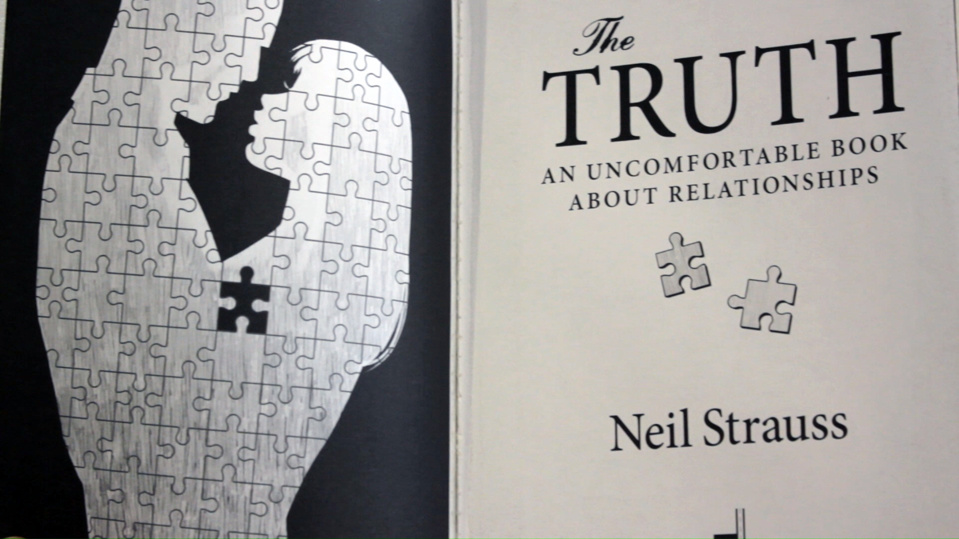 "Inside cover artwork: ""The Truth"" by Neil Strauss, with the missing puzzle pieces."