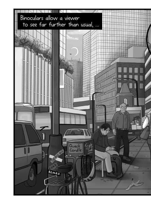 Shady downtown street scene cartoon. Lamp posts, traffic, office towers. Binoculars allow a viewer to see far further than usual, …