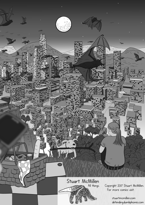 Detailed cartoon scene of city skyscrapers at night, viewed from hilltop with flying foxes flying through air above city, with moon in the background.