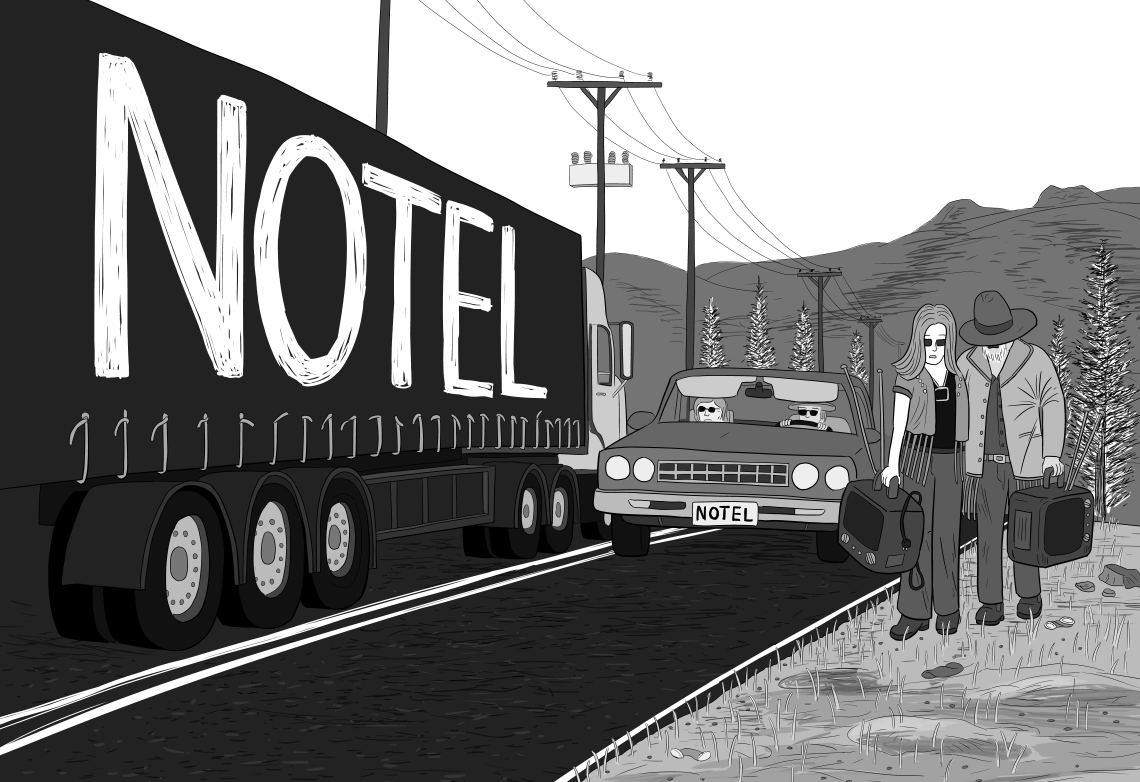 Notel comic splash image: a truck drives down a highway road, with two hitchikers walking along carrying TVs: parody of Exit Planet Dust by The Chemical Brothers.