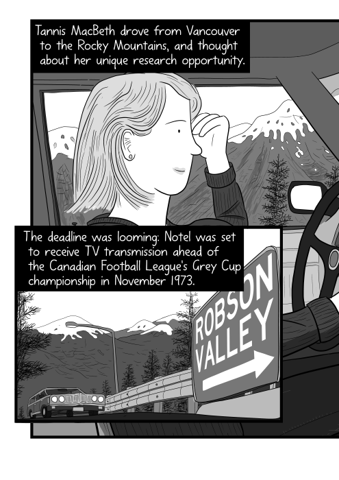 Side view of woman driving a car cartoon. Lady driving a car viewed from the passenger seat side. Tannis MacBeth drove from Vancouver to the Rocky Mountains, and thought about her unique research opportunity. The deadline was looming: Notel was set to receive TV transmission ahead of the Canadian Football League's Grey Cup championship in November 1973.