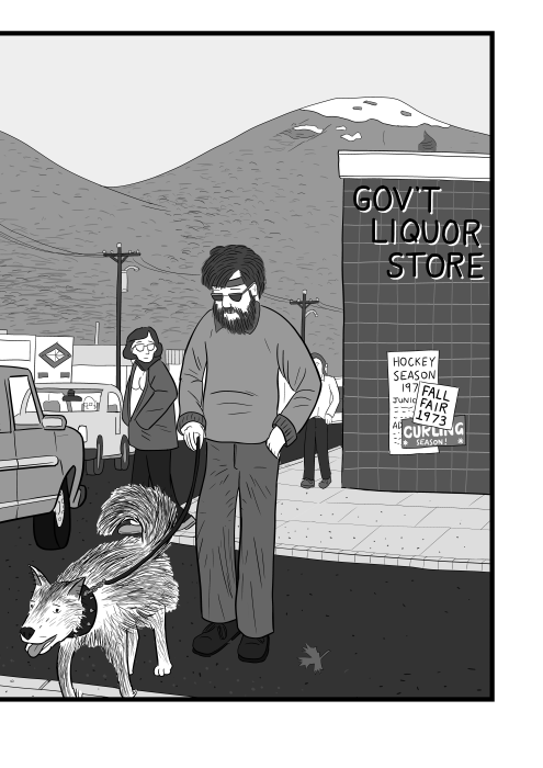Cartoon of man crossing the street walking a dog, near British Columbia Government Liquor sign.
