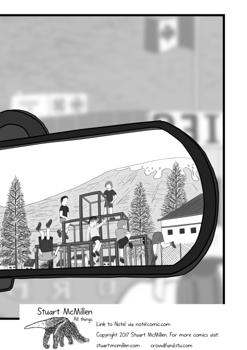 Cartoon illustration of children playing on jungle gym viewed through a rear vision mirror.