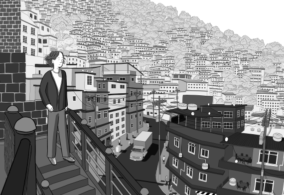 Detailed illustration of young man on staircase looking toward horizon, over cartoon cityscape showing houses and trees on hills. Detailed black and white illustration of apartment buildings and city architecture.