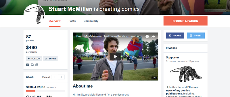 Stuart McMillen Patreon crowdfunding page screenshot before Match 2018